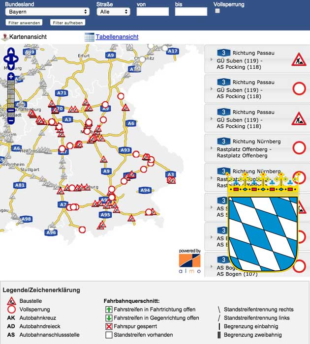Baustellen in Bayern