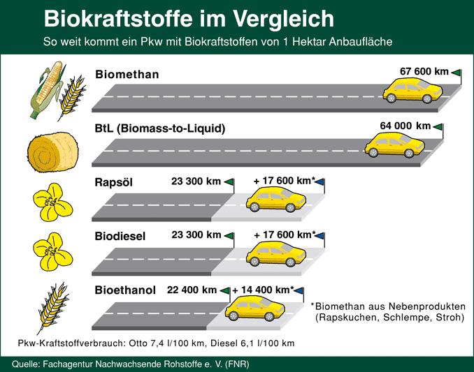 Grafik: Reichweiten von Biokraftstoff im Vergleich