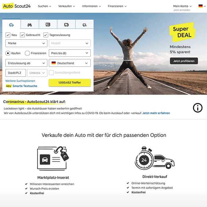 Autscout24 Startseiten Screenshot