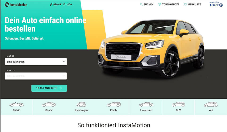 Instamotion.de Homepage Bildschirmfoto