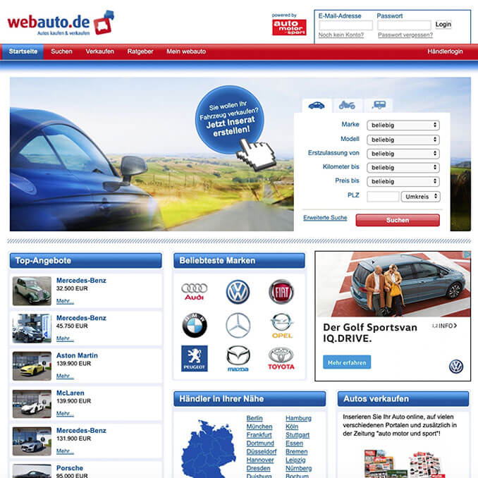 Webauto.de Hoempage Screenshot