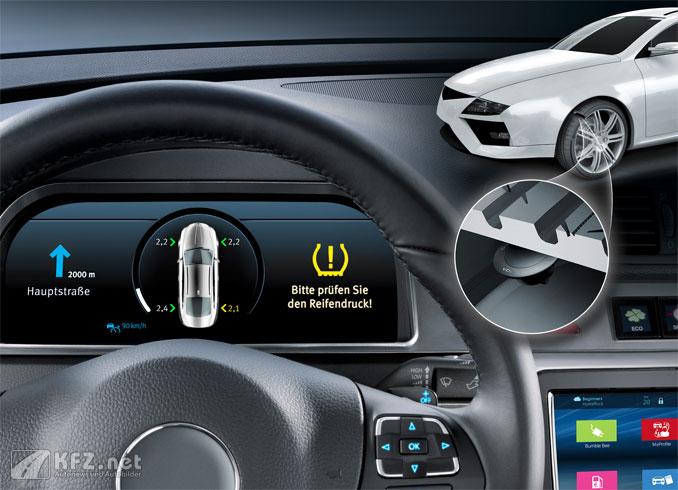 Das RDKS zeigt dem Fahrer eine Warnung an falls der Luftdruck des Reifens sich stark verändert.