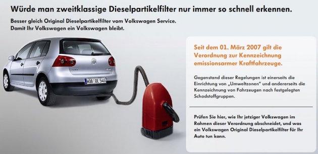 VW Autowerbung für Partikelfilter