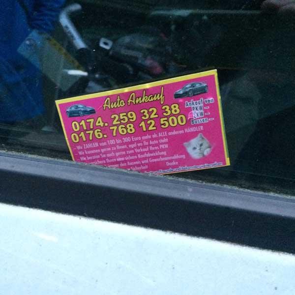 Wollen Auto Kaufen Visitenkarte