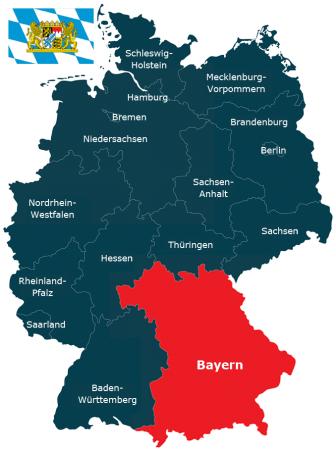 Deutschlandkarte Bundesland Bayern