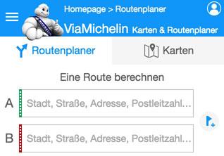 viamichelin Routenplaner Routenberechnung