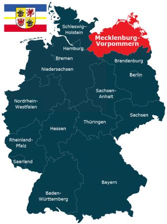 Deutschlandkarte Bundesland Mecklenburg-Vorpommern
