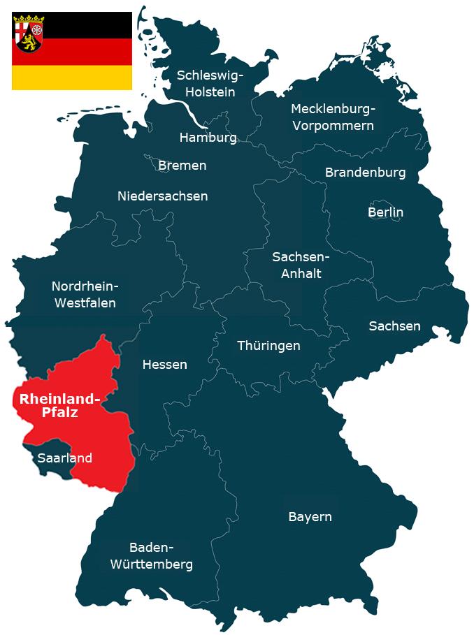 Karte der Bundesrepublik Deutschland mit dem Bundesland Rheinland-Pfalz