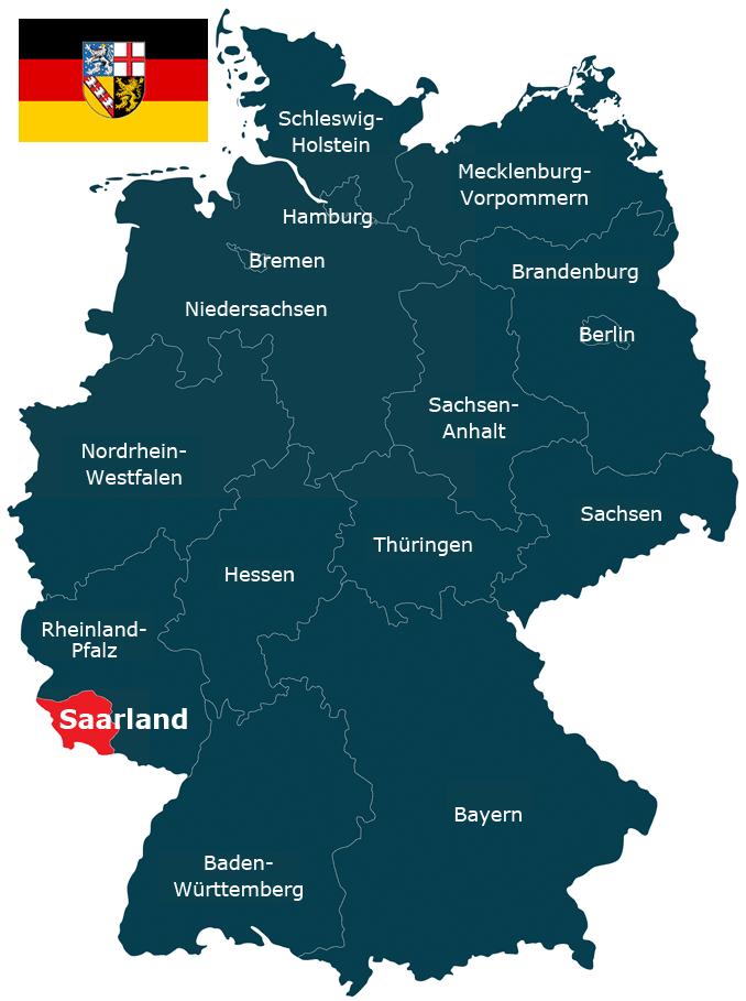 Karte der Bundesrepublik Deutschland mit dem Saarland