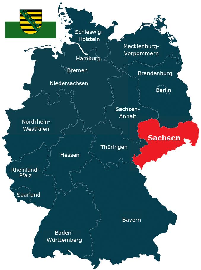 Karte der Bundesrepublik mit dem Land Sachsen