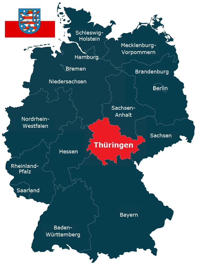 Karte der Bundesrepublik Deutschland mit der hervorhebung von Thüringen