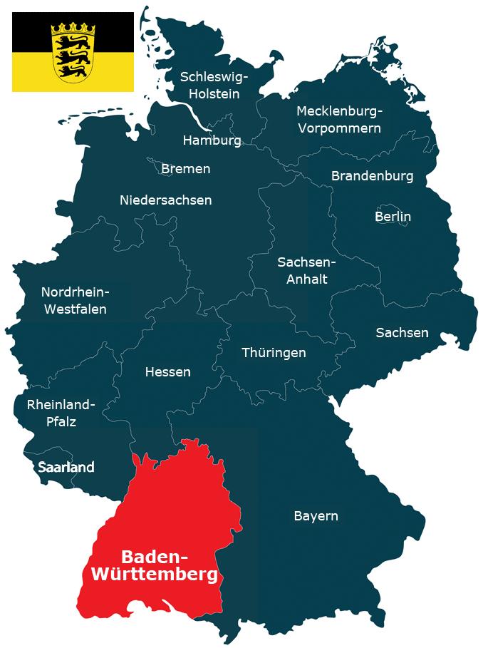 Deutschlandkarte mit dem Bundesland Baden-Württemberg