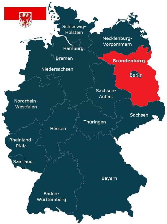 Karte vom Bundesland Brandenburg