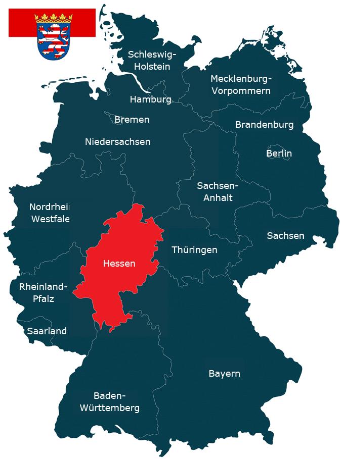 Karte der Bundesrepublik Deutschland mit der Hervorhebung von Hessen