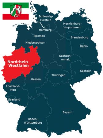 Deutschlandkarte Bundesland Nordrhein-Westfalen