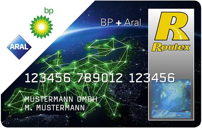 Bilder der ARAL BP Tankkarte mit Routex Logo