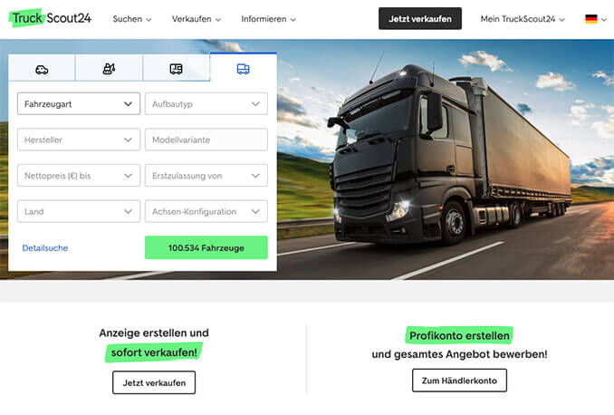 Screenshot Truckscout Webseite