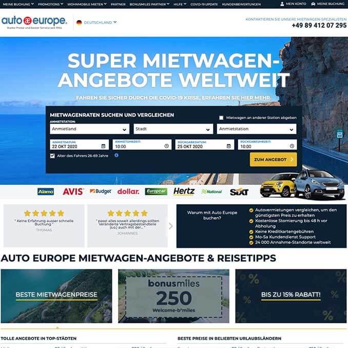 Screenshot der Auto Europe Webseite