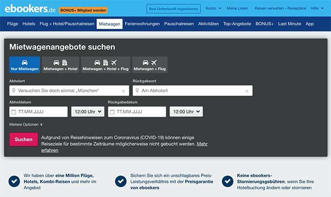 Ebookers Mietwagen Webseite