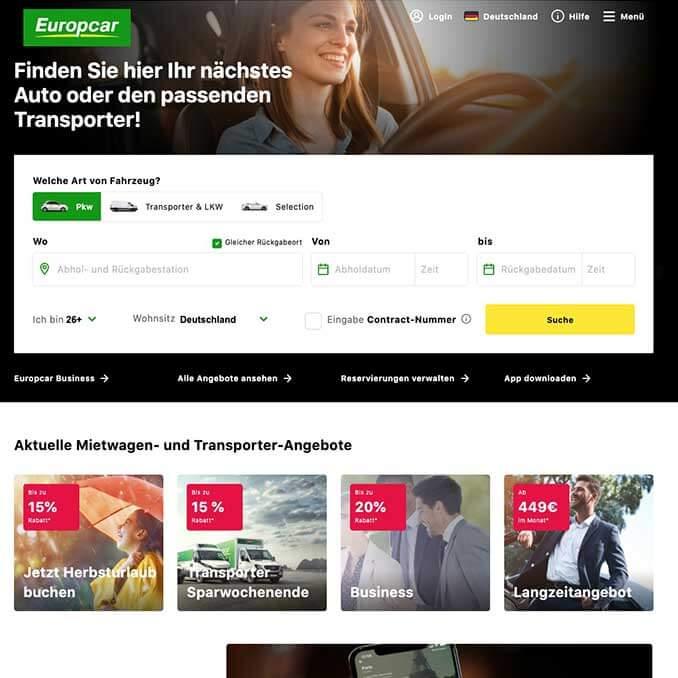Screenshot der Europcar Webseite