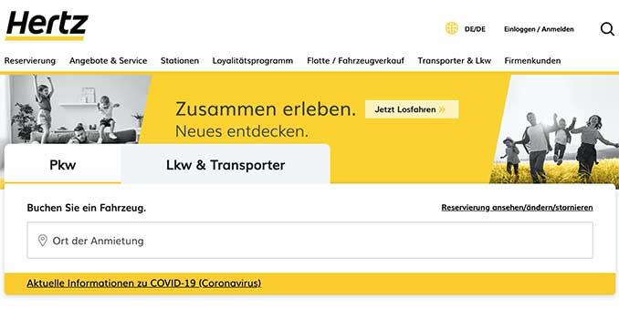 Hertz Autovermietung Webseite