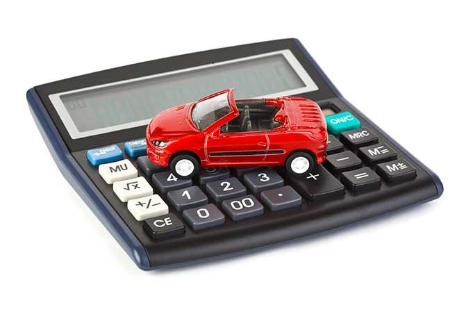 Taschenrechner mit Modellauto