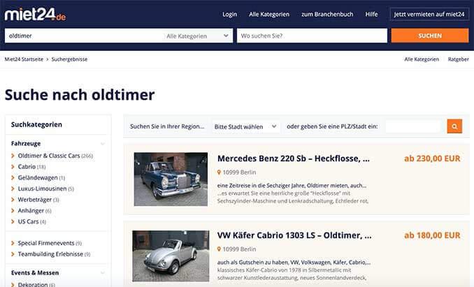 Oldtimervermietung auf der Miet24 Webseite