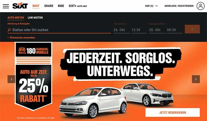 Screenshot der Sixt Webseite