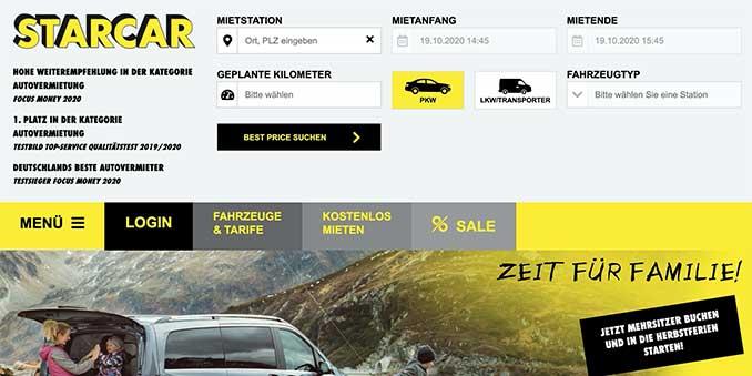 Screenshot der Starcar Webseite