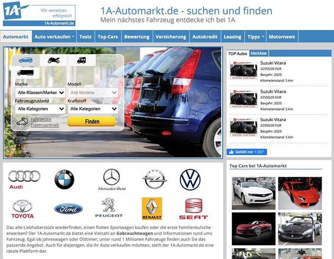 Screenshot der Seite 1A Automarkt