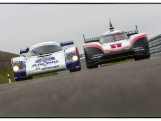 Porsche 956C und Porsche 919 Hybrid Evo front auf der Rennstrecke